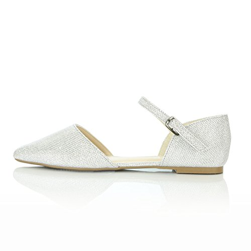 Flats Comfort Ballerina Strap Silver Toe Shoes Pointy Glitter Flat Ankle Casual DailyShoes Women's D'Orsay Buckle Ballet tqUzAwv
