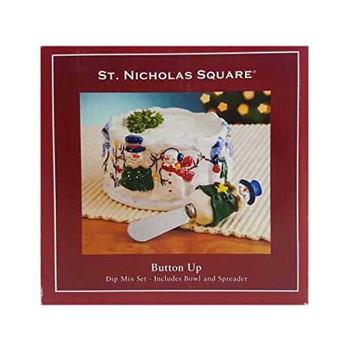 St. Nicholas Square Button UP Snowman Dip Mix Set with Bowl and -