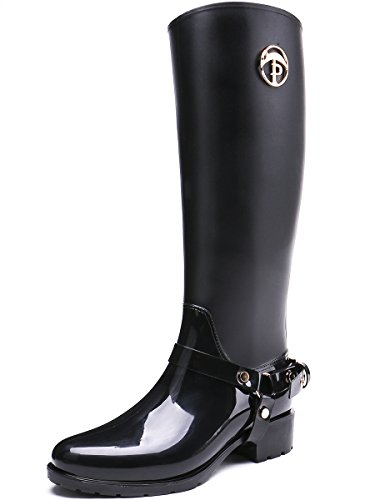 classic Rain Wellington Waterproof Boots TONGPU Black Snow high Knee Boots Women's 8EXqqwg5