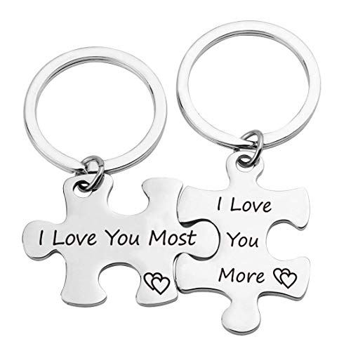 ZNTINA Puzzle Couples Keychains I Love You More I Love You Most Promise Couples Keychains Set Couples Jewelry Gift Boyfriend Girlfriend Lover (Puzzle Most/More KR)