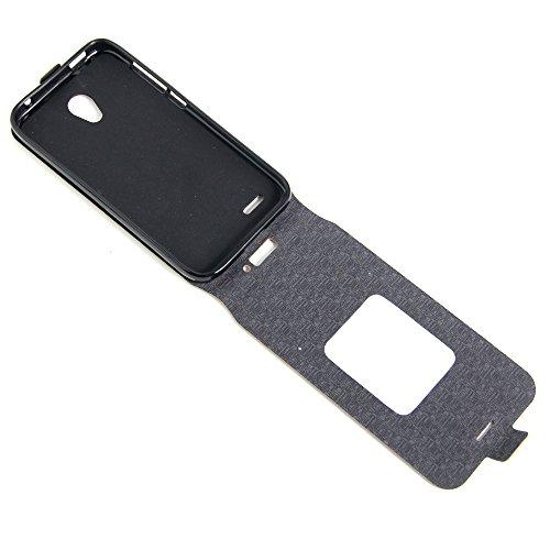 Para Alcatel OneTouch Go Play OT7048X Caso compacto de piel PU, arriba-abajo piel abierta PU Funda de piel con ranura para tarjeta y función de protección completa con cierre magnético Caja a prueba d Rosado