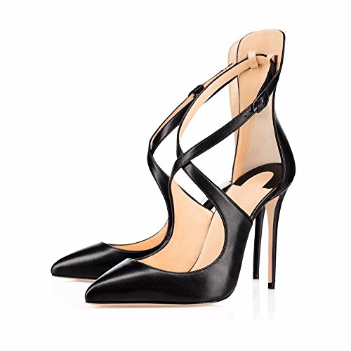 black Strap Shoes uBeauty Cross Slip Stiletto Shoes B Classic Pumps Pointed High Womens Toe Pu Court Shoes Heels On TTrAfFwq