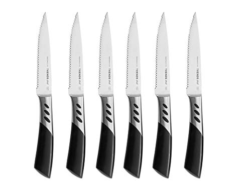 Serrated Set Steak - 6 Pc Premium Serrated Steak Knives Set, this set of steak knives is ergonomically crafted and ultra-sharp and never requires sharpening. TRENDS home original brand, quality streak knife set.
