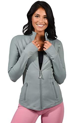 90 Degree By Reflex Women's Lightweight, Full Zip Running Track Jacket - Chinois Green - Large ()