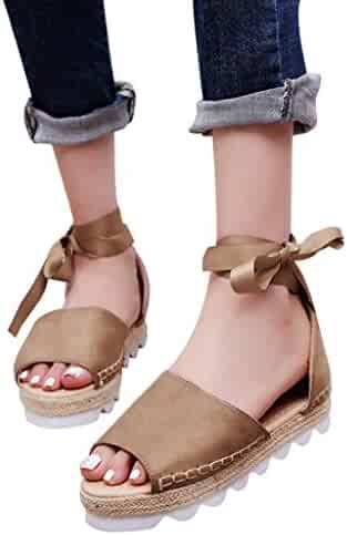 a7897da8978670 vermers Clearance Sale Women Flat Sandals Solid Flock Peep Toe Cross Tied  Thick Bottom Shoes