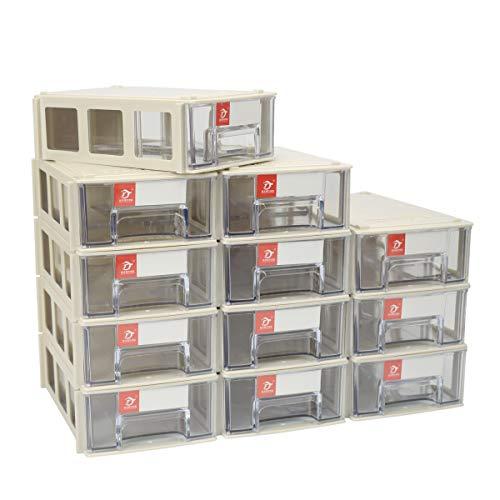 - Pack of 12 Plastic Desktop Stacking Interlocking Drawer Storage Cabinet Parts Box, 5.5×3.5×1.6inch