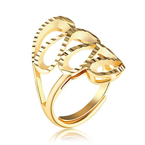 Arce Fashion Jewelry Adjustable Bride wedding accessories plated 18k gold ladies ring(KJ044)