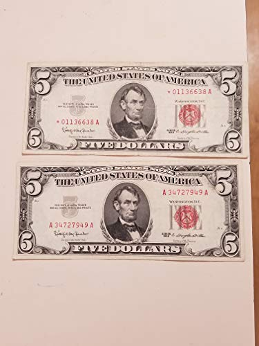 - 1963 $5 RED SEALS-2 VERY NICE PAIR WITH STAR REPLACEMENT NOTE-VERN'S CARD & COIN Vf-xf