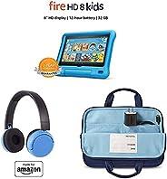Fire HD 8 Kids Essential Bundle including Kids Fire HD 8 Tablet 32GB Blue + Poptime Bluetooth Headset (Ages 8-
