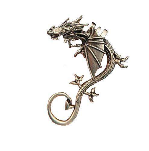 Dragon Earrings Non- Pierced Clip On Earrings Fake Ear Cartilage Cuff Ear Ring (Bronze)
