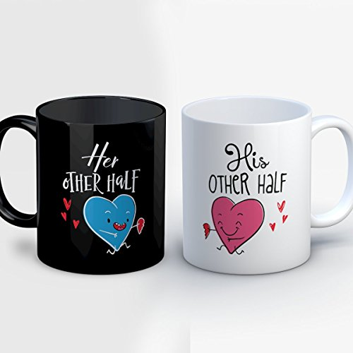 Couples For Interracial Costumes Halloween (Couples Coffee Mug - Her Other Half His Other Half - Cute 11 oz Black/White Ceramic Tea Cup - Adorable Couples Gifts with Matching His and Hers)