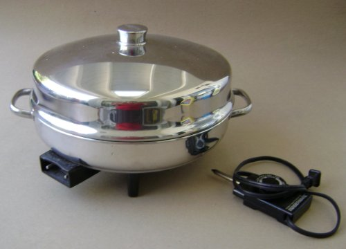Vintage Farberware 344A 12 inch Electric Fryer Skillet w/ Dome Lid - Includes manual, probe heat control and roasting - 12 Lid Farberware