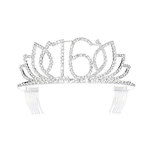 (DcZeRong Princess Sweet Girls 16 Birthday Tiara Crown Silver Rhinestone Crystal Diamond Crown Tiara)
