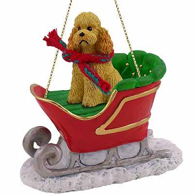 Conversation Concepts Poodle Sleigh Ride Christmas Ornament Apricot Sport Cut - Delightful!