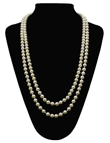 Gatsby Flapper Girl (Flapper Girl Great Gatsby Faux Pearls Flapper Beads Cluster Long 1920s Necklace 59'' (Pearl White))