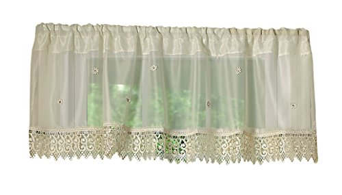 Violet Linen Daisy Design Sheer Window Valance, 60