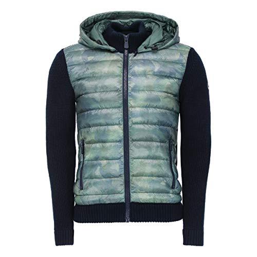 JOTT Herren Übergangs-Jacke Daunenjacke Jumping Daunen/Woll Mix Grün Camouflage Mehrfarbig mit Kapuze Thermo Wärmeisolierung (Größe M)
