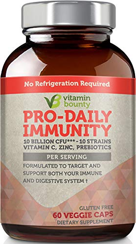 Vitamin Bounty - Immune Boosting Probiotics + Prebiotics - 10 Strains with Vitamin C and Zinc to Help Immune defenses Naturally ()