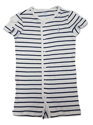Ralph Lauren Baby Boy Striped Cotton Jersey Shortall (White, 6 Months) (Striped White Shortall)