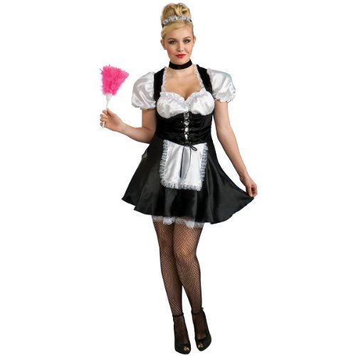 [Secret Wishes Full Figure French Maid Costume, Black] (Halloween French Maid Costumes)