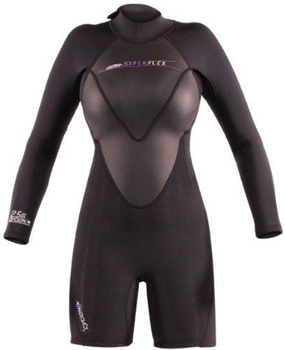 (Hyperflex Wetsuits Women's Cyclone2 2mm Long Sleeve Spring Suit, Black, 4 - Surfing, Windsurfing & Kiteboarding)