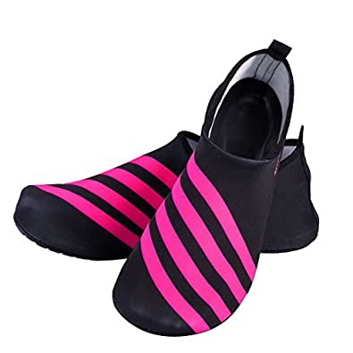 LUXUR Running stripes Skin Shoes Flexible Barefoot Flats suitable for Indoor and Outdoor Yoga Sports Unisex Red Medium