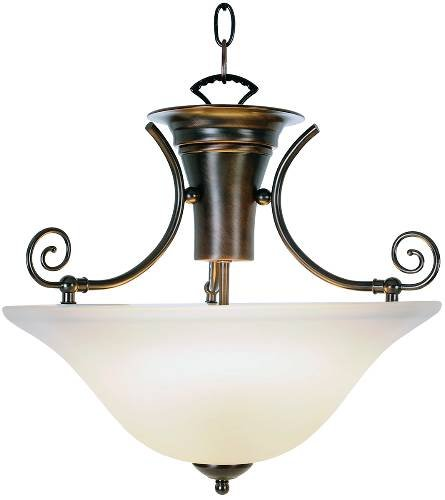 Premier 617234 Pendant Ceiling Fixture with Two 40 Watt Compact Type Fluorescent Lamps, 16-1/4'' , Oil Rubbed Bronze, 16.943'' x 16.943'' x 16.943''