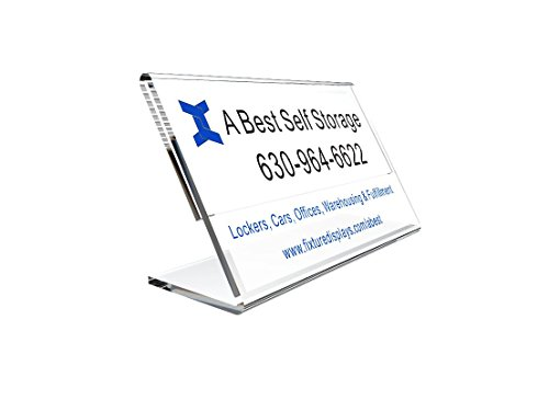 FixtureDisplays 3.5 x 2 Acrylic Sign Holder with Slant Back Design for Business Cards - Clear 19780