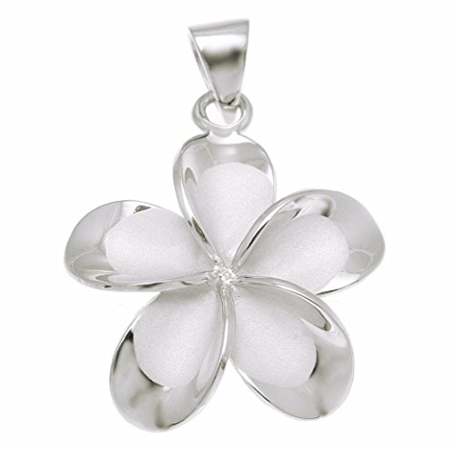 (925 sterling silver rhodium plated Hawaiian plumeria flower no cz stone pendant 25mm )