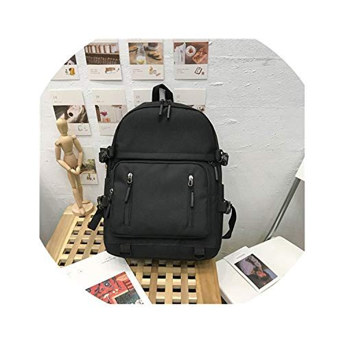 (Women Backpack Casual Student Japanese Harajuku Backpack Large Capacity School Bags For Girls,black,15 Inches)