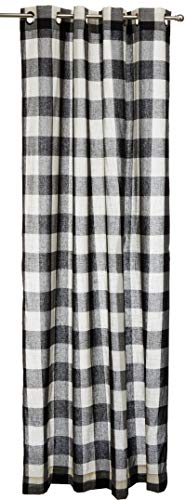 Black Gingham Curtains - Lorraine Home Fashions 09570-84-00146 BLACK Courtyard Grommet Window Curtain Panel, Black, 53