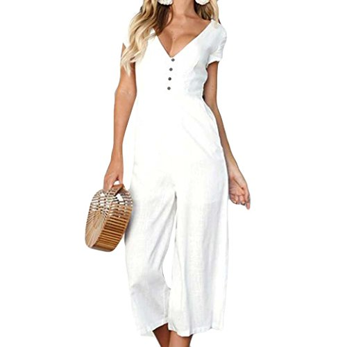 ABASSKY Jumpsuit for Women, Casual V Neck Jumpsuit Summer Short Sleeve Wide Leg Pant Clubwear Playsuit (White, M)
