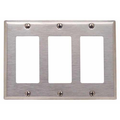Plate Steel Gang Stainless (Leviton 84411-40 3-Gang Decora/GFCI Device Decora Wallplate, Device Mount, Stainless Steel)
