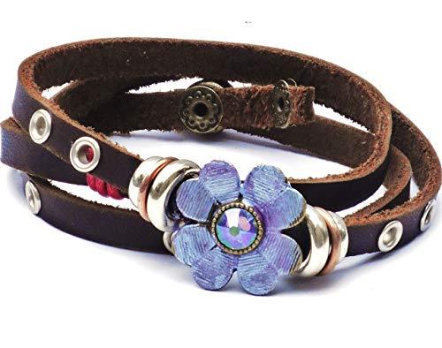 Swarovski Wrap Bracelet Around (Adjustable Brown Leather Wrap Around Cuff Bracelet with Painted Purple Flower and Swarovski Crystal Rhinestone)