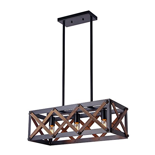 (Giluta Rectangle Wood Metal Chandelier Rustic Kitchen Chandelier Island Pendant Light Hardware Industrial Vintage Hanging Ceiling Light Fixture 3 Lights, Black (C0032))