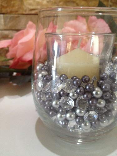 500pc Small Pearls & Diamond Gem Table Confetti/Scatters Gray & Silver Pearls, No Hole Pearls, Fillers for Candle Vases & Small Containers ()