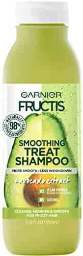 Garnier Fructis Smoothing Treat Shampoo, 98 Percent Naturally Derived Ingredients, Avocado, Nourish and Smooth for Frizzy Hair, 11.8 fl. oz.