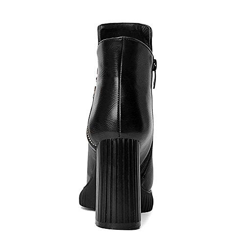 Allhqfashion Women's PU Blend Materials High-Heels Boots with Platform and Winkle Pinker Black eN1Khq2