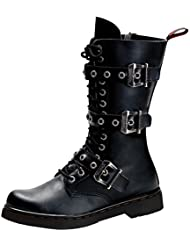 Summitfashions Mens Black Lace up Boots Buckle Lace up Shoes Combat Boots Vegan 1 inch Heel