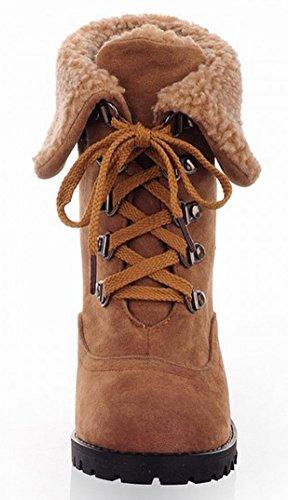Idifu Mujeres Vintage Round Toe De Piel Sintética High Block Tacones Lace Up Botines Cortos Martin Botines Amarillo