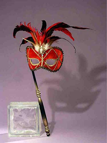Forum Novelties Women's Feather Masquerade Mask with Holding Stick, Red/Black, One Size -