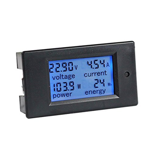 bayite DC 6.5-100V 0-100A LCD Display Digital Current Voltage Power Energy Meter Multimeter Ammeter Voltmeter with 100A Current Shunt (Charge Indicator Battery)