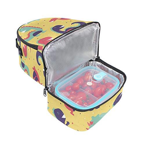 pour isotherme Dinosaur lunch bandoulière l'école Alinlo Pincnic Tote Boîte à à réglable avec Sac Cooler motifs AXxPqd