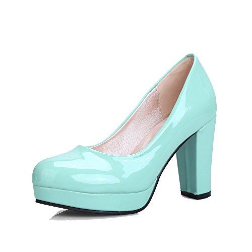 Damen Rund Zehe Ziehen auf Blend-Materialien Hoher Absatz Pumps Schuhe, Schwarz, 34 AllhqFashion