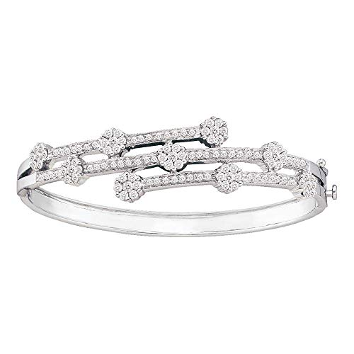 Mia Diamonds 14kt White Gold Womens Round Diamond Flower Cluster Bangle Bracelet (2.50cttw) (I1-I2)