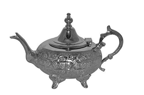Tea Serving  Glasses Moroccan Serving Tea Pot Handmade Silver Platted Kettle Large 32 Oz