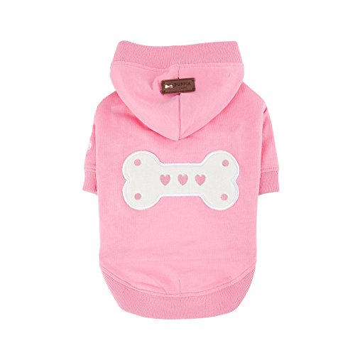 Puppia Authentic Bonez Hoodie, Small, Pink by Puppia