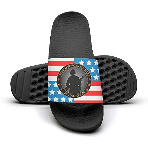 (QQuxiID Armed Forces Support Foundation Slide Sandal Beach Slipper Flip Flops Shower Poolside Shoes for Men)