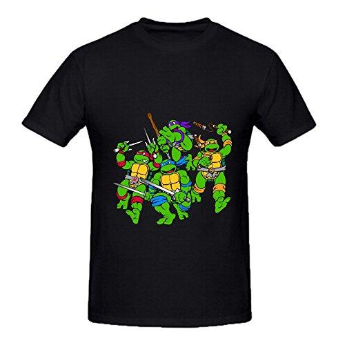 KARLEE Cotton O-Neck Teenage Mutant Ninja Turtles Clip Art Mens Tee ()