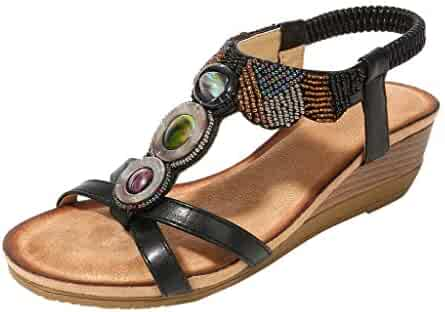 cf0f2be8b Goddessvan 2019 Retro Bohemian Women Rhinestone Sandals Shoes Flat Sandals  Beach Elastic Open Toe Sandals